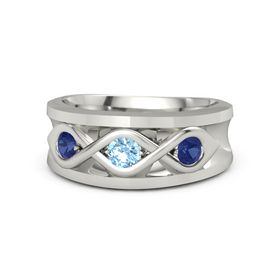 Round Blue Topaz Platinum Ring with Blue Sapphire