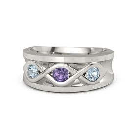 Men's Round Iolite Platinum Ring with Aquamarine