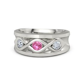Men's Round Pink Tourmaline Platinum Ring with Diamond