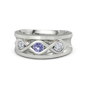 Men's Round Tanzanite Platinum Ring with Diamond