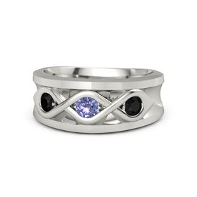 Men's Round Tanzanite Platinum Ring with Black Onyx