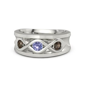 Men's Round Tanzanite Platinum Ring with Smoky Quartz