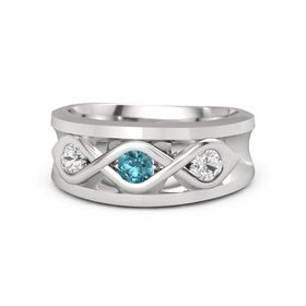 Men's Round London Blue Topaz Sterling Silver Ring with White Sapphire