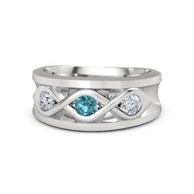 Round London Blue Topaz Sterling Silver Ring with Moissanite