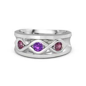 Round Amethyst Sterling Silver Ring with Rhodolite Garnet