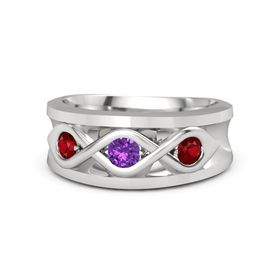 Men's Round Amethyst Sterling Silver Ring with Ruby
