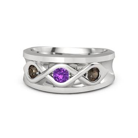 Men's Round Amethyst Sterling Silver Ring with Smoky Quartz