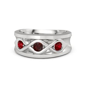 Men's Round Red Garnet Sterling Silver Ring with Ruby