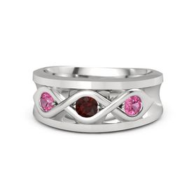 Round Red Garnet Sterling Silver Ring with Pink Tourmaline