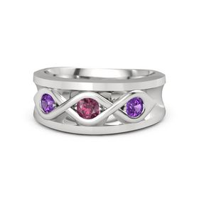 Men's Round Rhodolite Garnet Sterling Silver Ring with Amethyst