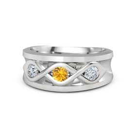 Men's Round Citrine Sterling Silver Ring with Diamond
