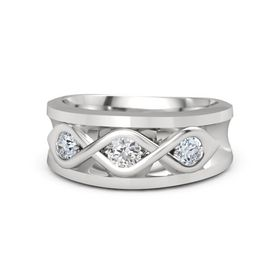 Men's Round White Sapphire Sterling Silver Ring with Diamond