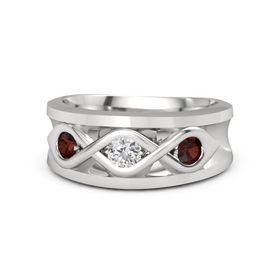 Men's Round White Sapphire Sterling Silver Ring with Red Garnet