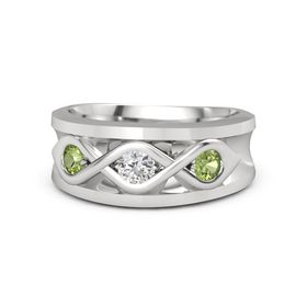 Men's Round White Sapphire Sterling Silver Ring with Peridot