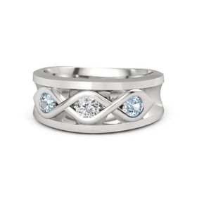 Men's Round White Sapphire Sterling Silver Ring with Aquamarine