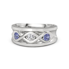 Men's Round White Sapphire Sterling Silver Ring with Tanzanite