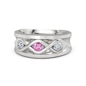 Men's Round Pink Sapphire Sterling Silver Ring with Diamond
