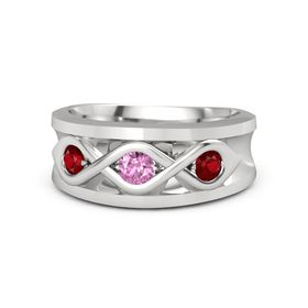 Men's Round Pink Sapphire Sterling Silver Ring with Ruby