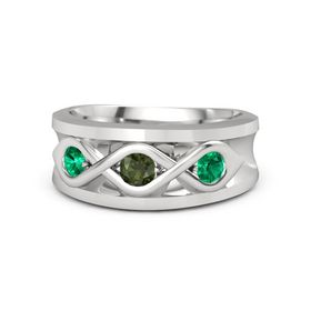 Men's Round Green Tourmaline Sterling Silver Ring with Emerald