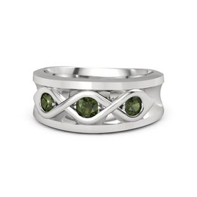 Men's Round Green Tourmaline Sterling Silver Ring with Green Tourmaline