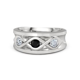 Round Black Onyx Sterling Silver Ring with Moissanite