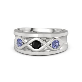 Men's Round Black Onyx Sterling Silver Ring with Tanzanite