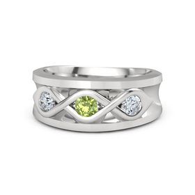 Men's Round Peridot Sterling Silver Ring with Diamond