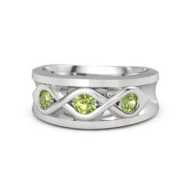 Men's Round Peridot Sterling Silver Ring with Peridot