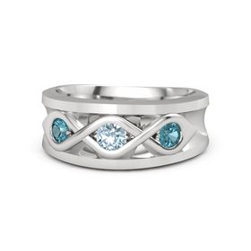 Men's Round Aquamarine Sterling Silver Ring with London Blue Topaz