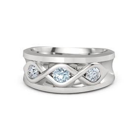 Men's Round Aquamarine Sterling Silver Ring with Diamond
