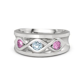 Round Aquamarine Sterling Silver Ring with Pink Sapphire