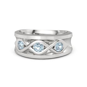 Men's Round Aquamarine Sterling Silver Ring with Aquamarine