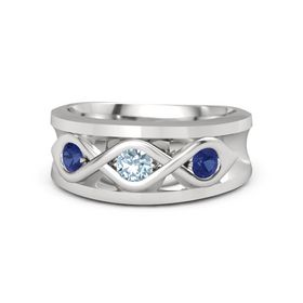 Men's Round Aquamarine Sterling Silver Ring with Sapphire