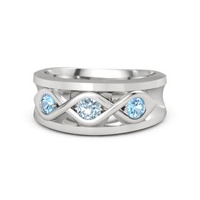 Men's Round Aquamarine Sterling Silver Ring with Blue Topaz