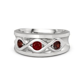 Men's Round Ruby Sterling Silver Ring with Red Garnet