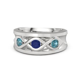 Round Blue Sapphire Sterling Silver Ring with London Blue Topaz