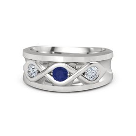 Round Blue Sapphire Sterling Silver Ring with Moissanite
