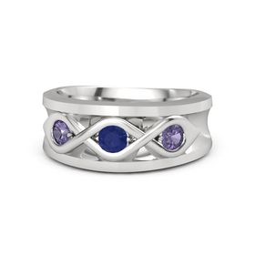 Men's Round Sapphire Sterling Silver Ring with Iolite