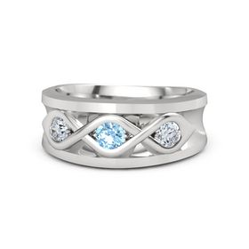 Men's Round Blue Topaz Sterling Silver Ring with Diamond