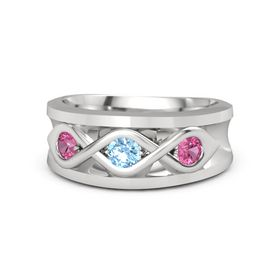Men's Round Blue Topaz Sterling Silver Ring with Pink Tourmaline