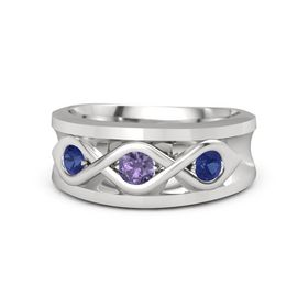 Men's Round Iolite Sterling Silver Ring with Sapphire