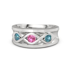 Round Pink Tourmaline Sterling Silver Ring with London Blue Topaz