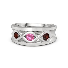 Men's Round Pink Tourmaline Sterling Silver Ring with Red Garnet