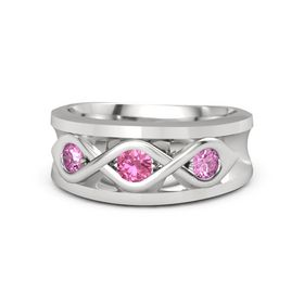 Men's Round Pink Tourmaline Sterling Silver Ring with Pink Sapphire