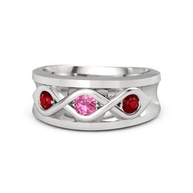 Men's Round Pink Tourmaline Sterling Silver Ring with Ruby
