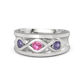 Men's Round Pink Tourmaline Sterling Silver Ring with Iolite