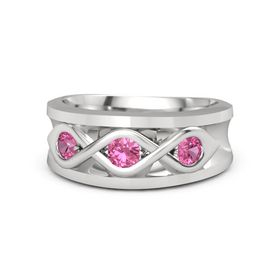 Men's Round Pink Tourmaline Sterling Silver Ring with Pink Tourmaline