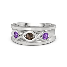 Men's Round Smoky Quartz Sterling Silver Ring with Amethyst