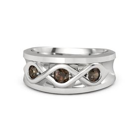 Men's Round Smoky Quartz Sterling Silver Ring with Smoky Quartz
