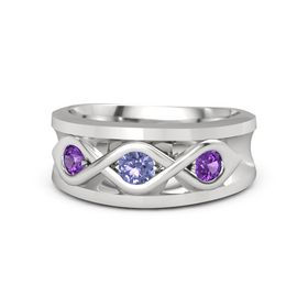 Round Tanzanite Sterling Silver Ring with Amethyst